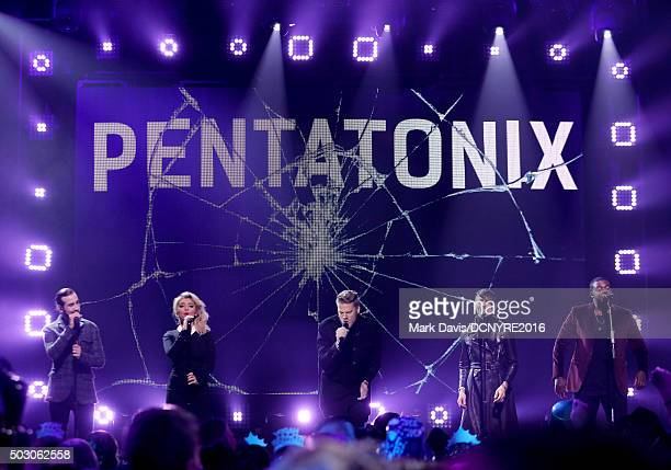 Avi Kaplan Kirstin Maldonado Scott Hoying Mitch Grassi and Kevin Olusola of Pentatonix perform onstage at Dick Clark's New Year's Rockin' Eve with...