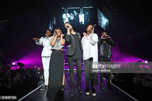 Avi Kaplan Scott Hoying Kirstin Maldonado Kevin Olusola and Mitch Grassi of Pentatonix perform at Xcel Energy Center on October 26 2016 in St Paul...