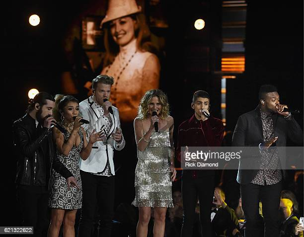 Avi Kaplan Scott Hoying Kirstin Maldonado Kevin Olusola and Mitch Grassi of PENTATONIX perform onstage with Jennifer Nettles during the 50th annual...