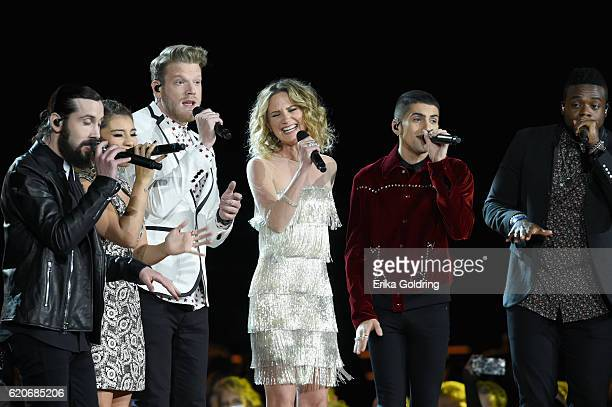 Avi Kaplan Scott Hoying Kirstin Maldonado Kevin Olusola and Mitch Grassi performs onstage with Jennifer Nettles at the 50th annual CMA Awards at the...