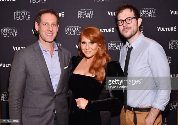 Avi Zimak Julie Klausner and Jesse David Fox attend Vulture Hulu's screening of 'Difficult People' on August 7 2017 in New York City