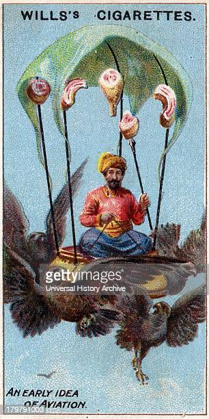 Early idea for aviation Persian king on throne supported by flying birds