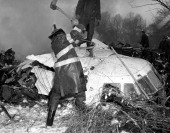 Aviation accident United Airlines DC8 TWA Super Constellation Two airplanes collided over foggy New York harbor and crashed Fireman hacks away at...