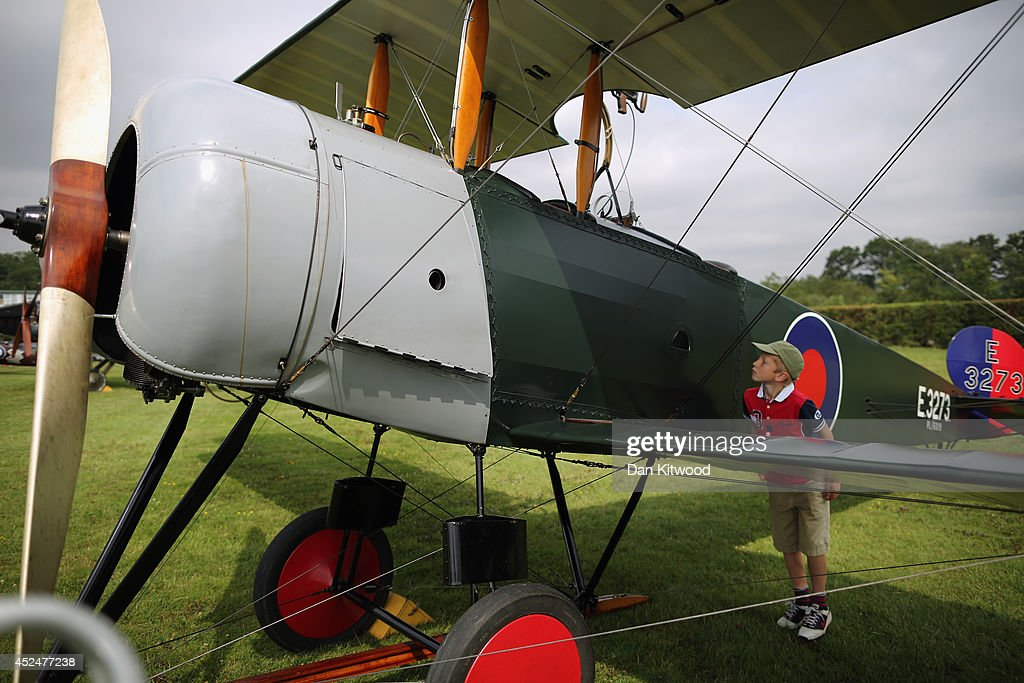 Aviation enthusiast Patrick Wilson 8, from Wetherby looks at an Avro 504 k at 'The Shuttlesworth Collection' at Old Warden on July 21, 2014 in Biggleswade, England. Of the 55,000 planes that were manufactured by the Royal Army Corps (RAC) during WWI, only around 20 remain in airworthy condition. Six of these belong to The Shuttleworth Collection at Old Warden, Bedfordshire, making it the most complete collection of original airworthy WWI aircraft in the world. Amongst the collection is the SE5a. The SE5a is a single seater fighter aircraft. It is an original biplane designed by the Royal Aircraft Factory, with its engine built by Wolseley Motors Ltd, and it was issued to 84 Squadron in November 1918. The National Archive in Kew has recently verified that the plane saw action in France with 84 Squadron the day before Armistice, November 10, 1918.