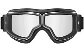 Black aviation glasses in retro style with chrome inserts, front view. 3D graphic