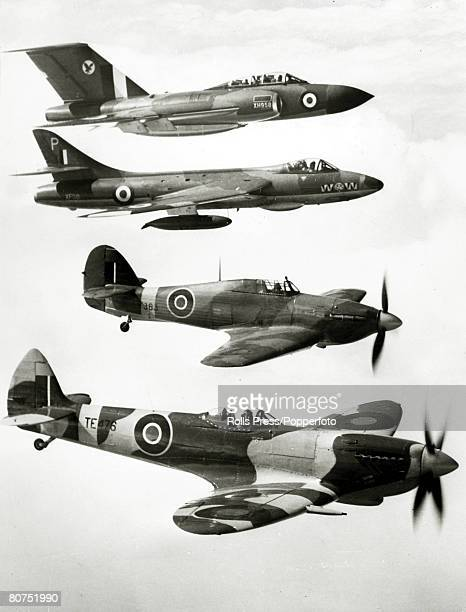 1959 Four famous British planes topbottom Gloster 'Javelin' Hawker 'Hunter' Hawker 'Hurricane' and the Supermarine 'Spitfire' the latter two of World...