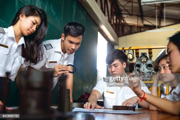 Aviation University students attending to class