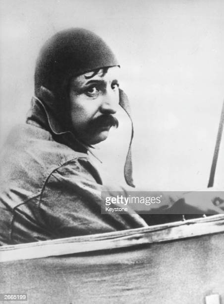 Aviator Louis Bleriot ready to embark on the first flight across the English Channel