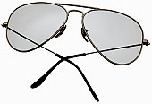 Aviator style sunglasses with folded arms