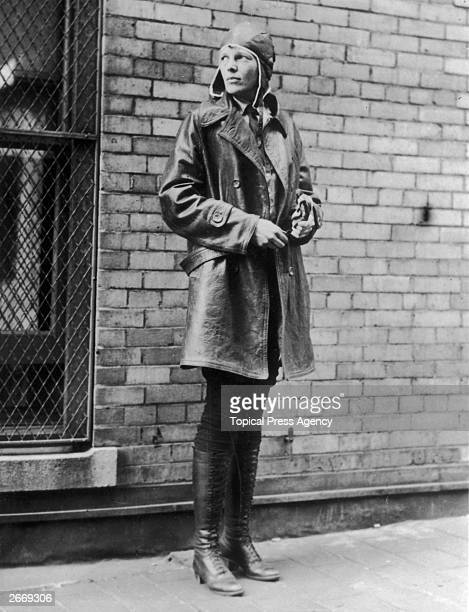 Aviatrix Amelia Earhart in Newfoundland Noted for her flights across the Atlantic and Pacific oceans Earhart disappeared without trace in her attempt...