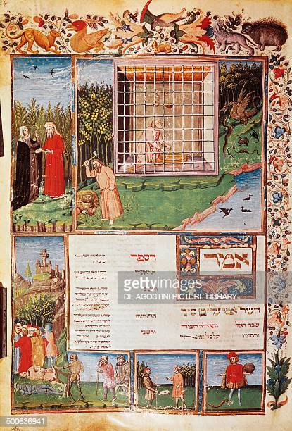 Avicenna Persian philosopher physician and writer miniature from a Hebrew translation of Canon Medicinae by Avicenna illuminated manuscript 15th...