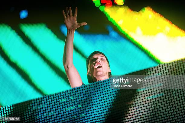 Avicii performs at the Glasgow summer sessions at Bellahouston Park on August 17 2013 in Glasgow Scotland