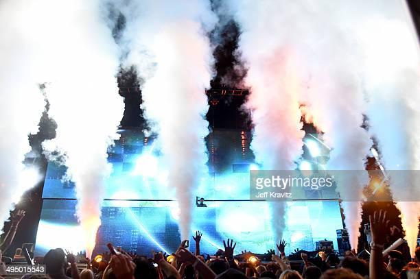 Avicii performs at Verizon Wireless Amphitheater on May 31 2014 in Irvine California