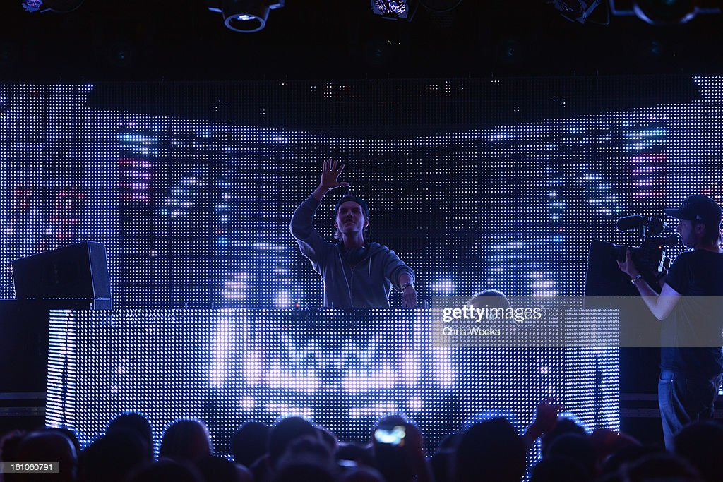 Avicii performs during mPowering Action, a global mobile youth movement at Grammy Week launch, featuring performances by Timbaland and Avicii at The Conga Room at L.A. Live on February 8, 2013 in Los Angeles, California.