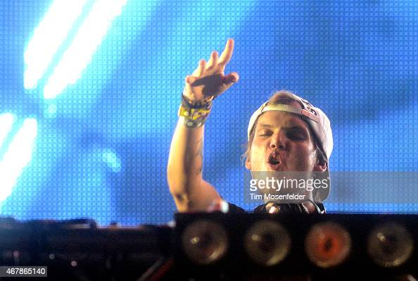 Avicii performs during the Ultra Music Festival at Bayfront Park Amphitheater on March 27 2015 in Miami Florida