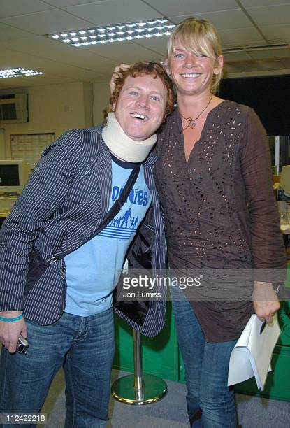 Avid Merrion and Zoe Ball during UK Radio Aid to Benefit Victims of the Asian Tsunami Green Room at Capital Radio in London United Kingdom