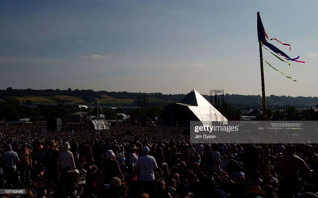 Aview of the Pyramid stage during the Glastonbury Music Festival held at Worthy Farm on June 24, 2005 in Glastonbury, England.