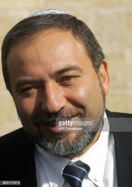 Avigdor Lieberman head of the Israeli party 'Israel Our Home' or in Hebrew 'Yisrael Beitenu' leaves after a visit to the Western Wall Judaism's...