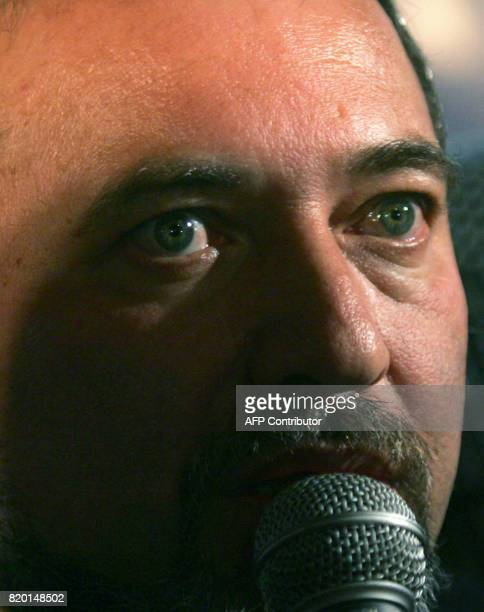 Avigdor Lieberman head of the Israeli party 'Israel Our Home' or in Hebrew 'Yisrael Beitenu' speaks to the press at his party headquarters in...