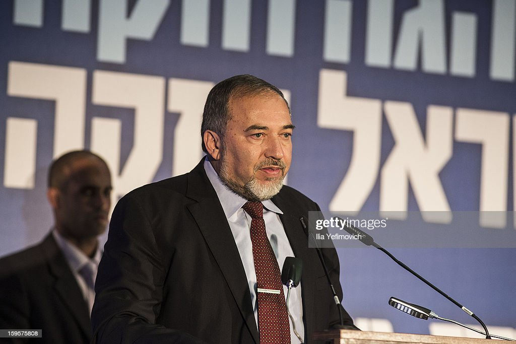 Avigdor Lieberman speaks at a rally ahead of the national elections on January 16, 2013 in Ashdod, Israel.General elections will be held on January 22, 2013 to decide members of parliament and whether Benjamin Netanyahu will receive another term in office at Prime Minister.