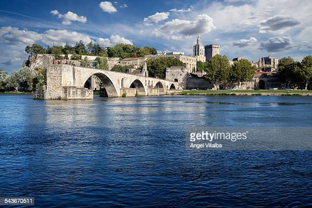Avignon bridge and Rhone River