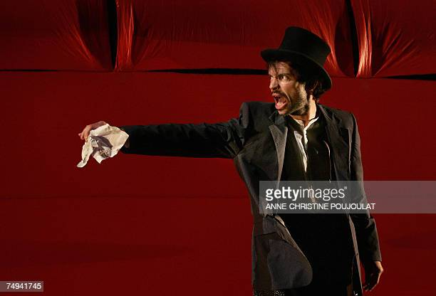 French actor Vincent Dissez acting as the Earl of Gloucester in William Shakespeare's King Lear directed by JeanFrancois Sivadier rehearses in the...