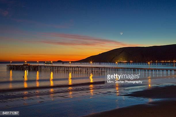 Avila Beach Sunset and Crescent Moon
