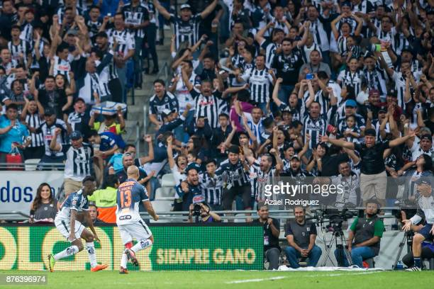 Aviles Hurtado of Monterrey celebrates after scoring his team second goal during the 17th round match between Monterrey and Tigres UANL as part of...