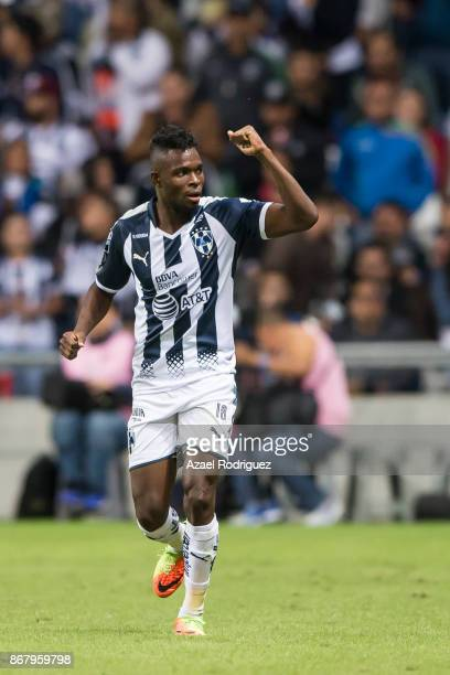 Aviles Hurtado of Monterrey celebrates after scoring his team'second goal during the 15th round match between Monterrey and America as part of the...