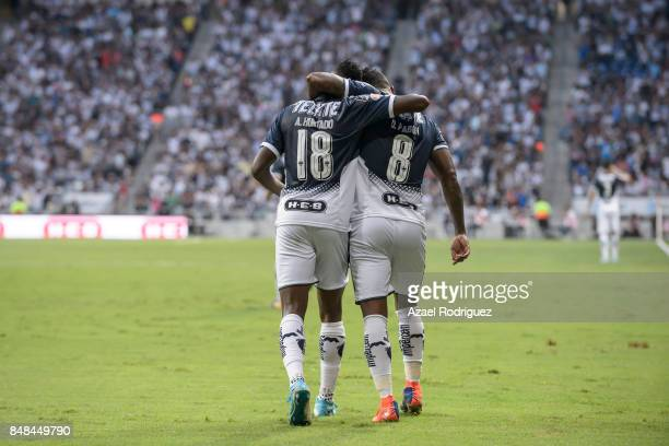 Aviles Hurtado of Monterrey celebrates with Dorlan Pabon after scoring the opening goal during the 9th round match between Monterrey and Atlas as...