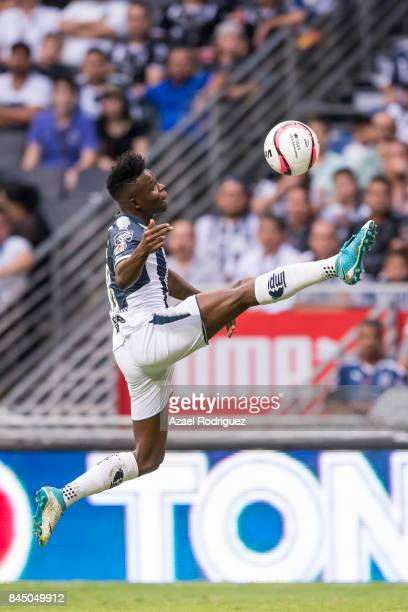 Aviles Hurtado of Monterrey controls the ball during the 8th round match between Monterrey and Necaxa as part of the Torneo Apertura 2017 Liga MX at...