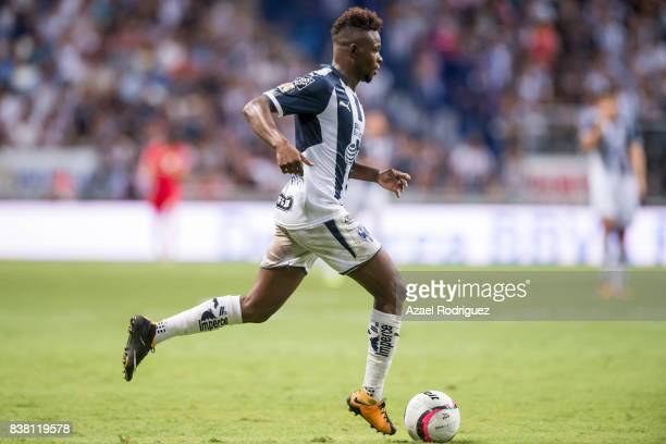 Aviles Hurtado of Monterrey drives the ball during the 6th round match between Monterrey and Toluca as part of the Torneo Apertura 2017 Liga MX at...