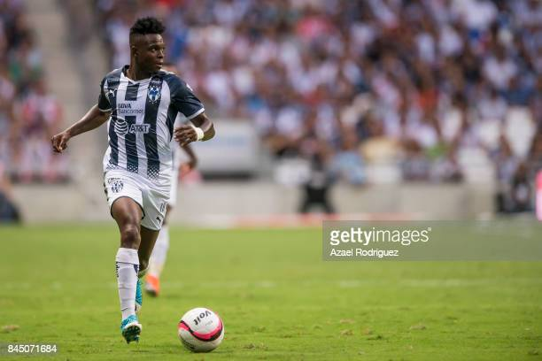 Aviles Hurtado of Monterrey drives the ball during the 8th round match between Monterrey and Necaxa as part of the Torneo Apertura 2017 Liga MX at...