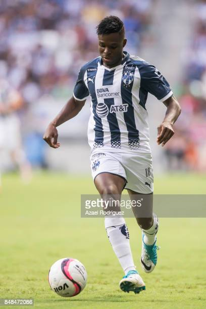 Aviles Hurtado of Monterrey drives the ball during the 9th round match between Monterrey and Atlas as part of the Torneo Apertura 2017 Liga MX at...