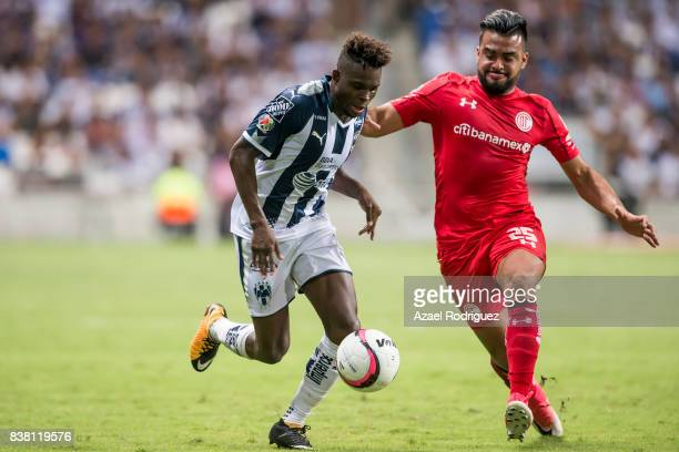 Aviles Hurtado of Monterrey fights for the ball with Pedro Canelo of Toluca during the 6th round match between Monterrey and Toluca as part of the...