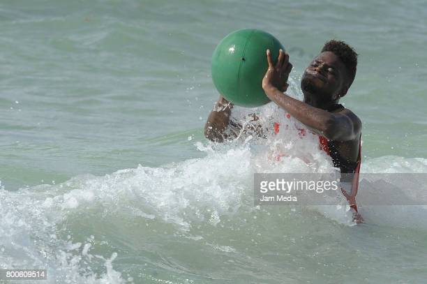 Aviles Hurtado of Monterrey trains in the beach during the Pre Season training for the Torneo Apertura 2017 Liga MX at Hotel Gran Coral on June 24...
