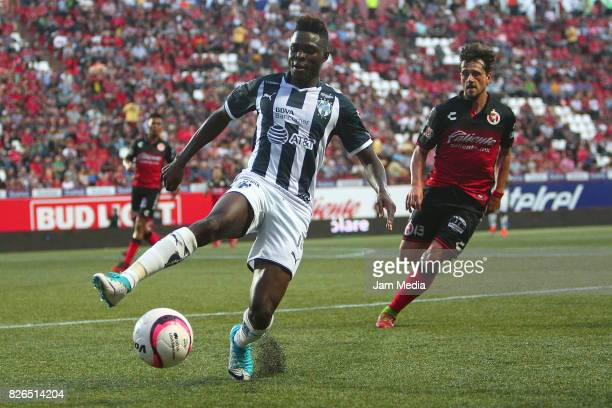 Aviles Hurtado of Monterrey tries to control the ball during the third round match between Tijuana and Monterrey as part of the Torneo Apertura 2017...