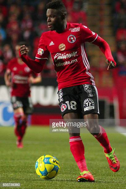 Aviles Hurtado of Tijuana drives the ball during a 6th round match between Tijuana and Necaxa as part of the Torneo Clausura 2017 Liga MX at Caliente...