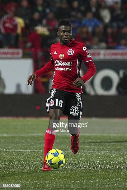 Aviles Hurtado of Tijuana drives the ball during a match between Tijuana against Cruz Azul the Clausura Tournament 2017 league Bancomer MX at...