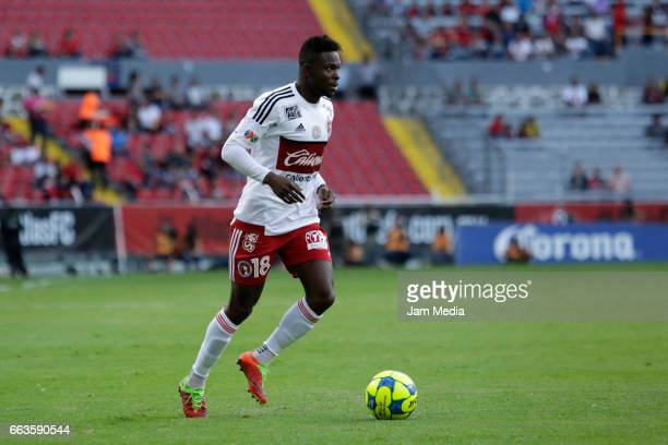 Aviles Hurtado of Tijuana drives the ball during the 12th round match between Atlas and Tijuana as part of the Torneo Clausura 2017 Liga MX at...