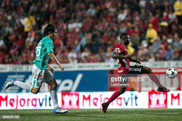Aviles Hurtado of Tijuana scores his team's second goal during the 5th round match between Tijuana and Leon as part of the Torneo Apertura 2016 Liga...