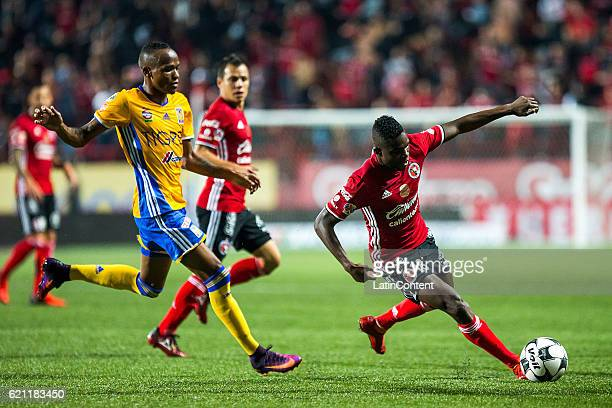 Aviles Hurtado of Xolos tries to control the ball during the 16th round match between Tijuana and Tigres UANL as part of the Torneo Apertura 2016...