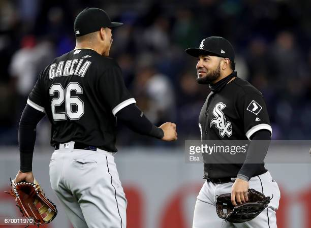 Avisail Garcia and Melky Cabrera of the Chicago White Sox celebrate the 41 win over the New York Yankees on April 18 2017 at Yankee Stadium in the...