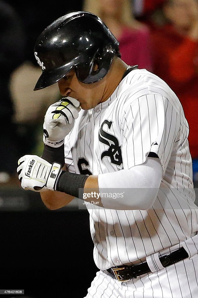 Avisail Garcia #26 of the Chicago White Sox after hitting a two-run home run against the Houston Astros during the fourth inning on June 8, 2015 at U.S. Cellular Field in Chicago, Illinois.