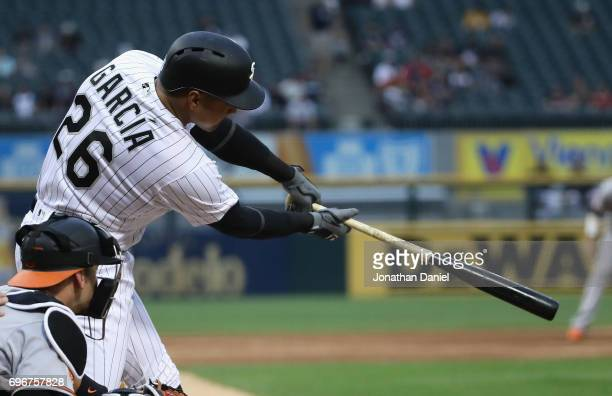Avisail Garcia of the Chicago White Sox bats against the Baltimore Orioles at Guarantedd Rate Field on June 13 2017 in Chicago Illinois The White Sox...