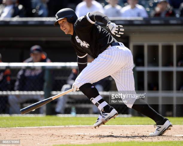 Avisail Garcia of the Chicago White Sox bats against the Detroit Tigers on April 6 2017 at Guaranteed Rate Field in Chicago Illinois The White Sox...