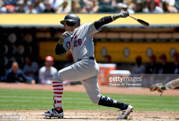 Avisail Garcia of the Chicago White Sox bats against the Oakland Athletics in the top of the second inning at Oakland Alameda Coliseum on July 4 2017...