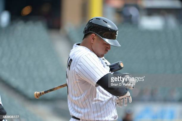 Avisail Garcia of the Chicago White Sox bats during the second inning against the Minnesota Twins at US Cellular Field on April 2 2014 in Chicago...