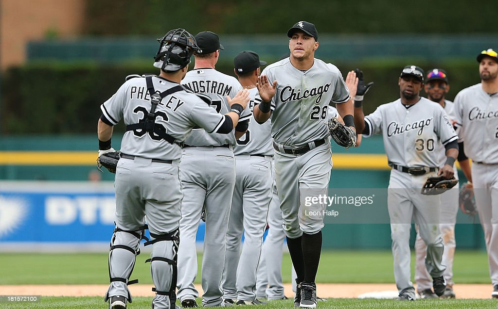 Avisail Garcia #26 of the Chicago White Sox celebrates a win over the Detroit Tigers at Comerica Park on September 22, 2013 in Detroit, Michigan. The White Sox defeated the Tigers 6-3.