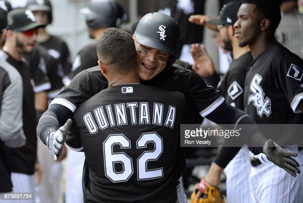 Avisail Garcia of the Chicago White Sox celebrates with teammates after hitting a tworun home run in the sixth inning against the Kansas City Royals...